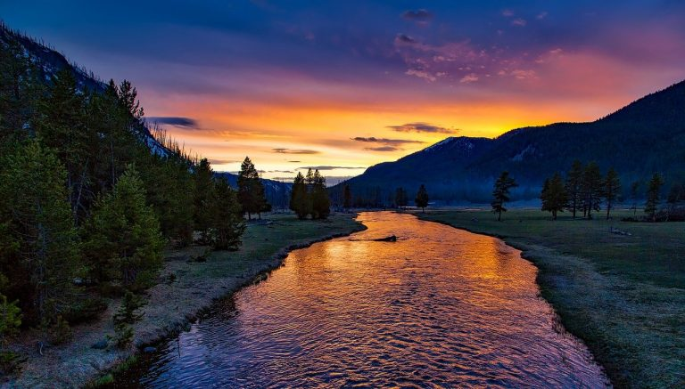 river, mountains, sunset